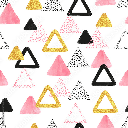 Fototapeta Seamless pattern with pink, black and golden triangles. Vector abstract background with geometric shapes.