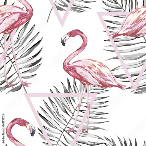 Seamless pattern with tropical Flamingo and leaves. Element for design of invitations, movie posters, fabrics and other objects. Isolated on white. Geometry set. Vector EPS 10 - 168738126