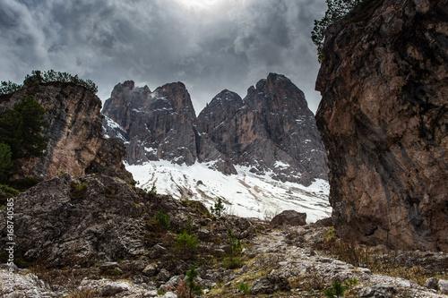 Fotobehang Grijs High snowy mountains, nature landscape. Dolomites Alps