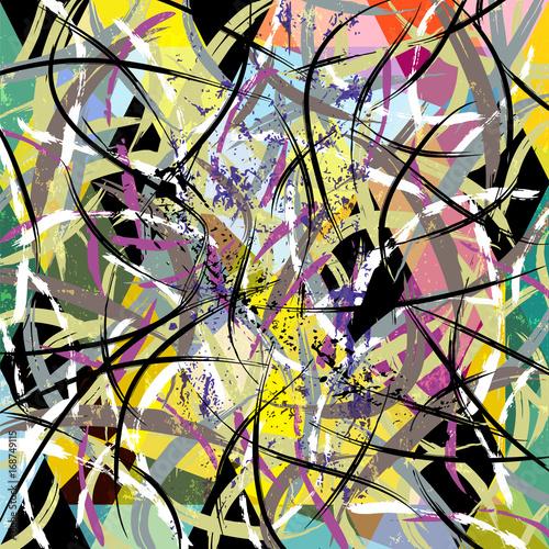 Fotobehang Abstract met Penseelstreken abstract background, with strokes, splashes and geometric lines