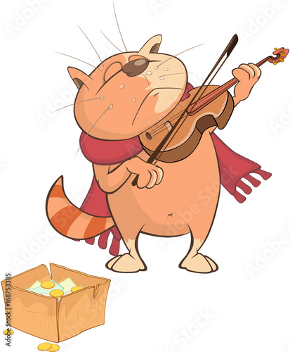 Papiers peints Chambre bébé Illustration of a Cute Cat Violinist. Cartoon Character
