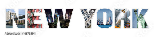 Foto op Canvas New York TAXI Letters NEW YORK photo collage isolated on white background