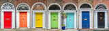 Panoramic rainbow colors collection of doors in Dublin, Ireland - 168757119