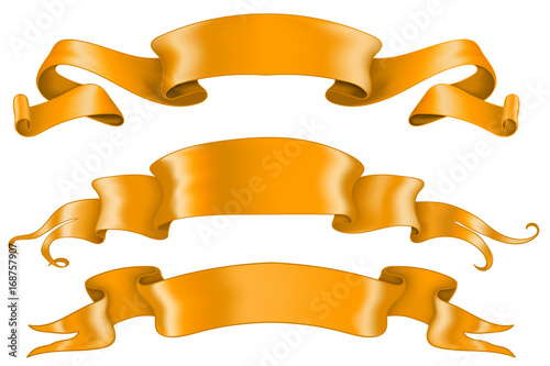 Orange shiny ribbon banners. Collection of blank scrolls