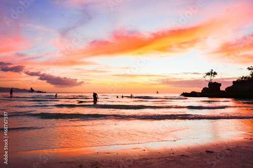 Fotobehang Koraal Tropical beach of the Philippines in Asia on the island of Boracay