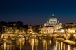 Quadro View of Rome by night with the Vatican and St Peter's basilica