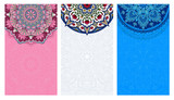Fototapety Set of vertical backgrounds decorated with oriental ethnic patterns. Collection of light blue, pink and white flyers with mandalas. Vector illustration.