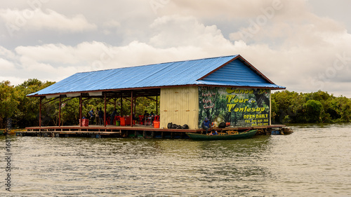 Keuken foto achterwand Schip Floating village Chong Knies in Cambodia, Tonle Sap (Great lake)