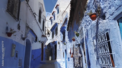 Fotobehang Smalle straatjes Chefchaouen Marrakesh Morocco ville bleue