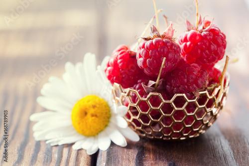 Fresh ripe raspberry from the garden Poster