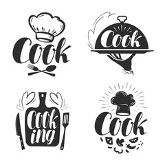 Cook, chef logo or label. Illustration for design menu restaurant or cafe. Lettering, calligraphy vector