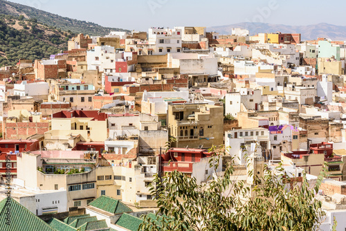 Poster Spectacular aerial view of Moulay Idriss, the holy town in Morocco, named after Moulay Idriss I arrived in 789 bringing the religion of Islam