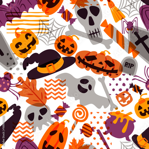 Materiał do szycia Vector seamless Halloween pattern. Doodle pumpkin, skull, witch hat, bones, candies, spider, ghost, broom, cauldron on white background. Design for holiday textile prints wrapping and backgrounds
