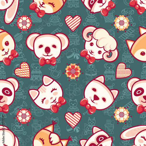 Cute pets. Seamless pattern. Colorful background with characters.
