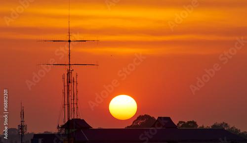 Poster Baksteen Sunrise in the morning.