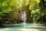 Erawan waterfall in national park Kanchanaburi tourism landmark travels the best of Thailand.