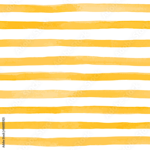 Materiał do szycia Beautiful seamless pattern with Orange yellow watercolor stripes. hand painted brush strokes, striped background. Vector illustration