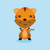 cute tiger cartoon mascot. vector illustration