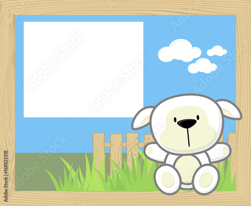 Fotobehang Boerderij wood frame with cute baby sheep and blank board for copy space, design for children