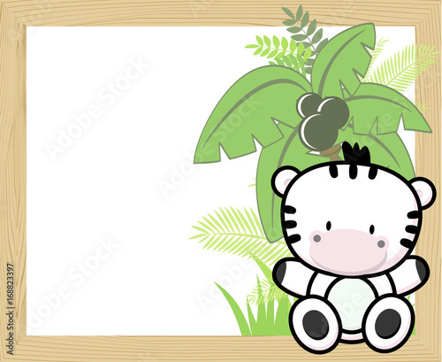 Fotobehang Zoo cute baby zebra with tropical leaves and palm tree on empty wood frame for copy space, ideal for nursery art decoration or scrapbooking projects