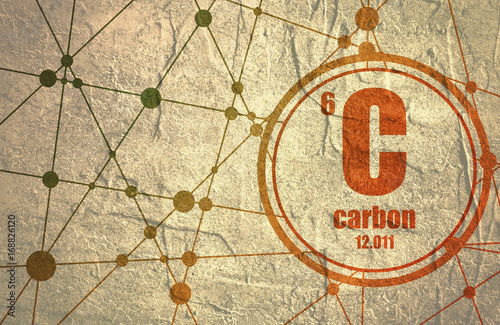 Carbon chemical element. Sign with atomic number and atomic weight. Chemical element of periodic table. Molecule And Communication Background. Connected lines with dots. © JEGAS RA