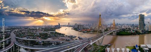 Wall mural The Bhumibol Bridge (Industrial Ring Road Bridge) (Bangkok, Thailand)