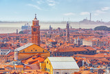 Panoramic view of Venice from the Campanile tower of St. Mark's Cathedral (Campanile di San Marco). Italy. - 168831340