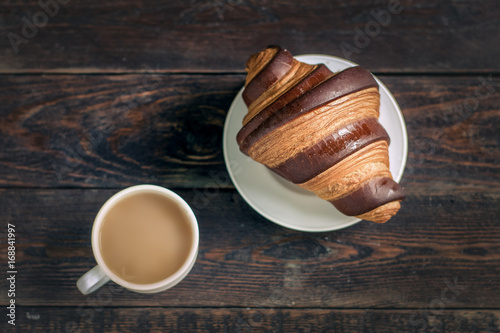 Sticker croissant with coffee