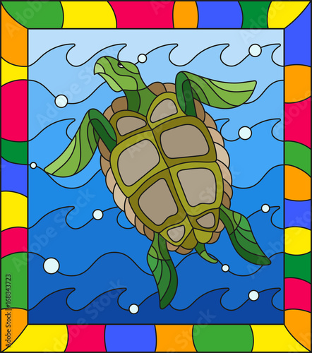 illustration-in-stained-glass-style-turtle-into-the-waves-and-bubbles-of-air-in-a-bright-frame
