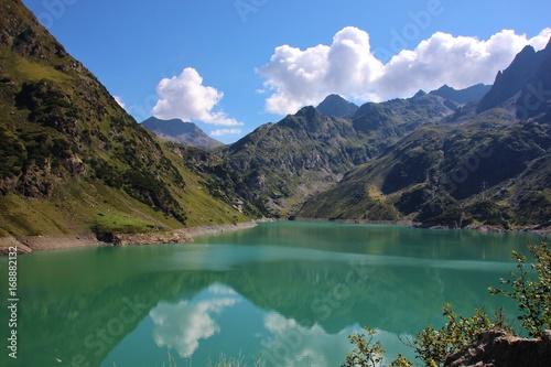 Reflection on Barbellino lake, Bergamo, Alpi Orobie, Italy