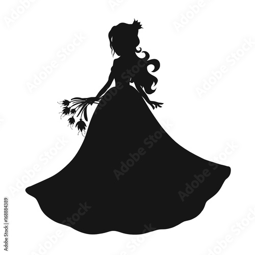 Beautiful princess with a bouquet of flowers, silhouette