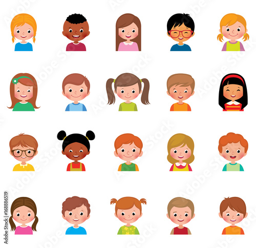 Vector illustration set of different avatars of boys and girls on a white background - 168886519