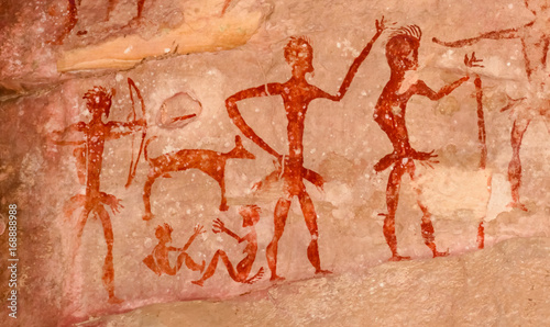 Tuinposter Algerije Prehistoric cave paintings over 4000 years Khao Chan Ngam, Nakhon Ratchasima.