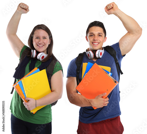 Studenten Studierende Erfolg erfolgreich Freude glücklich jung lachen Freisteller
