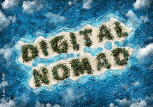 Digital nomad written on exotic tropical island