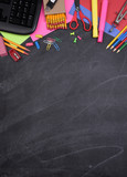 School Supplies on Chalkboard with Copy Space - 168894558