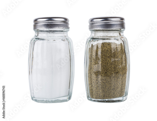 Salt and pepper in glass jars isolated on white - 168896743
