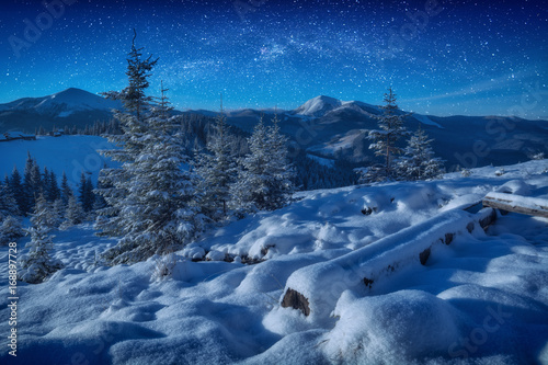 Fantastic milky way in a starry sky above the mountains