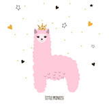 Cute little lama princess. Kids funny poster or print. Vector hand drawn illustration. - 168899520