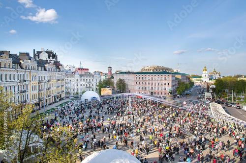 Fotobehang Kiev Kiev, Ukraine. Crowd and Easter painted eggs Festival on Sofievska square and St Michael's Monastery