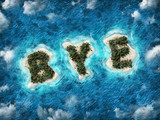 Bye written on exotic tropical vacation island