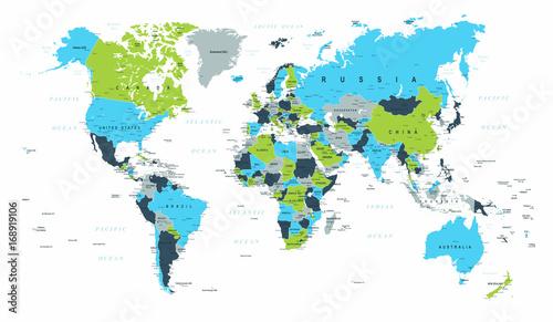 Fototapeta World Map Political Blue Green Brown Vector