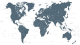 World Map Political Grayscale Vector - 168919509