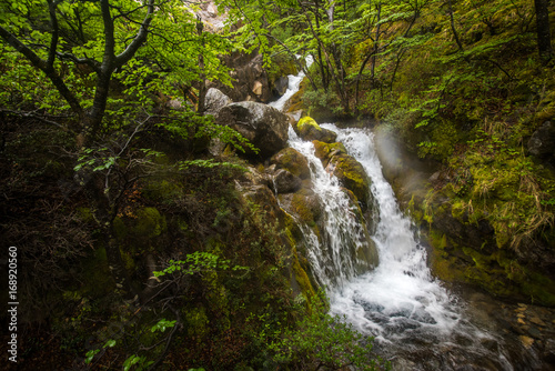 A small cascading waterfall in the mountains. Shevelev.
