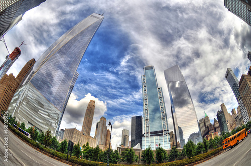 Colorful dramatic HDR image (fisheye lens) of the famous skyscrapers in Downtown плакат