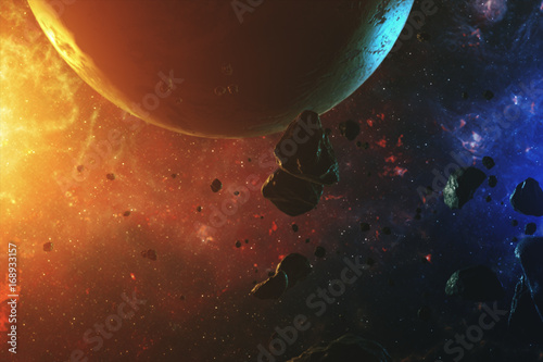 Fotobehang Heelal A beautiful colorful space with asteroids with sounds and a planet 3d illustration