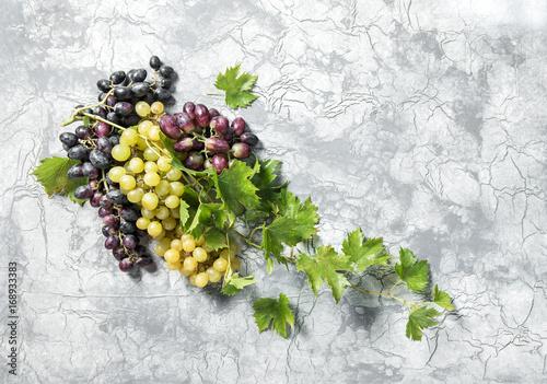 Grape vine green leaves concrete stone texture Food background