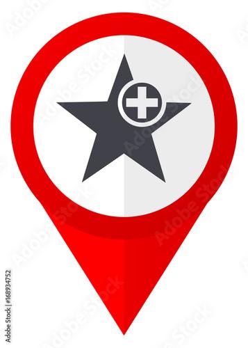 Star red web pointer icon. Webdesign button on white background.