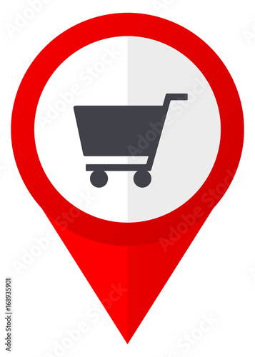 Cart red web pointer icon. Webdesign button on white background.