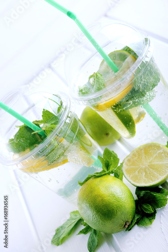 Refreshing summer drink. Lime and mint mohito.